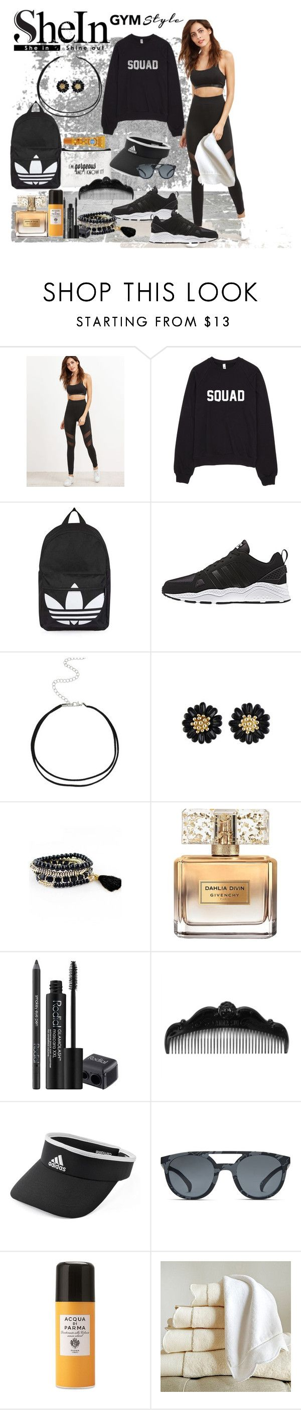 """""""SheIn - Black-High-Waist-Leggings-With-Mesh-Panel-Detail"""" by susan-993 ❤ liked on Polyvore featuring Topshop, adidas, Givenchy, Rodial, Anna Sui, Acqua di Parma and Frontgate"""