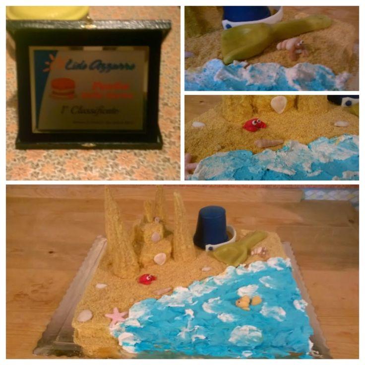 beach cake, sabbia commestibile e decorazioni in pasta di zucchero