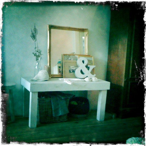 My own livingroom #white wash side table and old mirror #gold