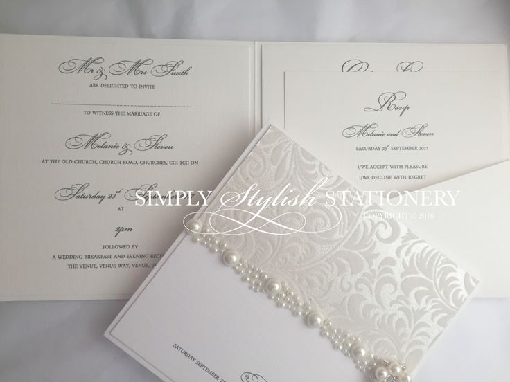 Florence Collection Sample Ivory And Pearl Day Wedding Invite Suite Handmade With Pearls