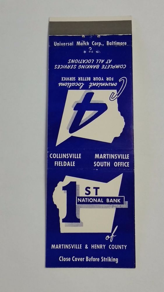 1st NATIONAL BANK MARTINSVILLE & HENRY COUNTY VIRGINIA #Matchcover To order your business' Own Branded Advertising #matchbooks or #matchboxes GoTo: www.GetMatches.com or CALL 800.605.7331 Today!