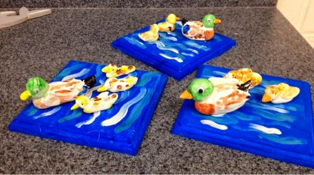 Crayola Model Magic ducks on painted wood/grades 1-3/Art with Mr. Giannetto Blog
