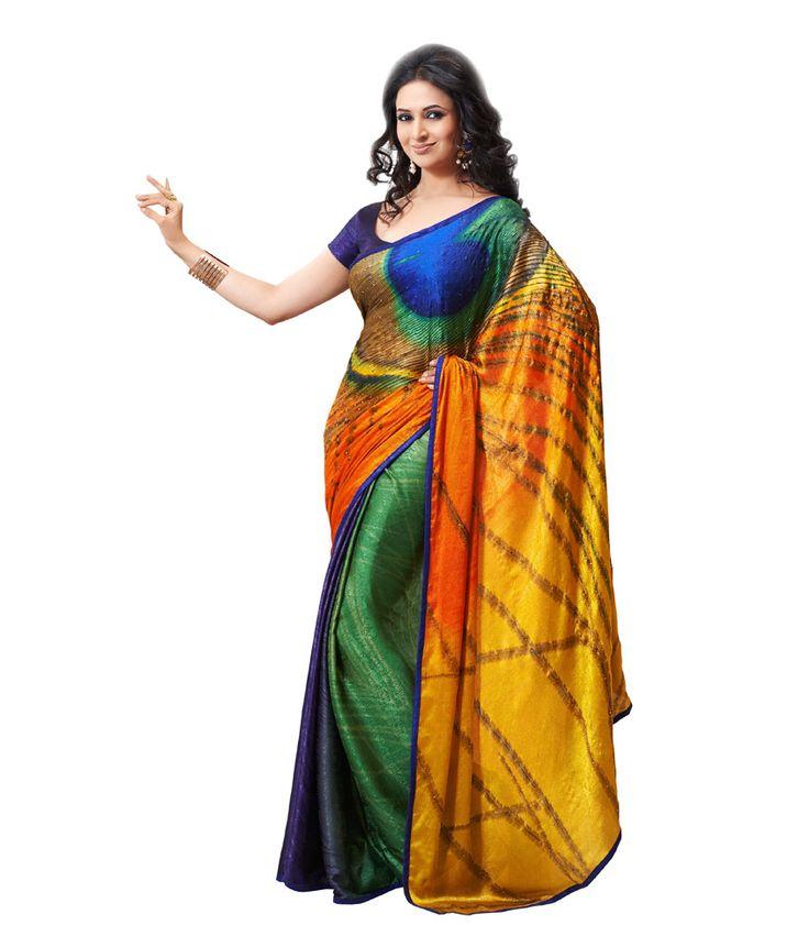 Nanda Silk Mills Multi Color Art Crepe Digital Saree