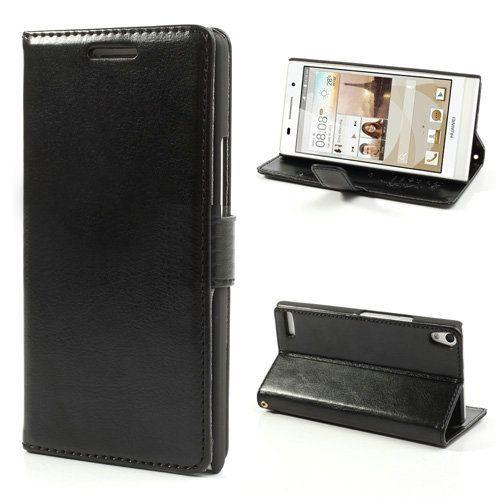 Zwart bookcase hoesje voor Huawei Ascend P6