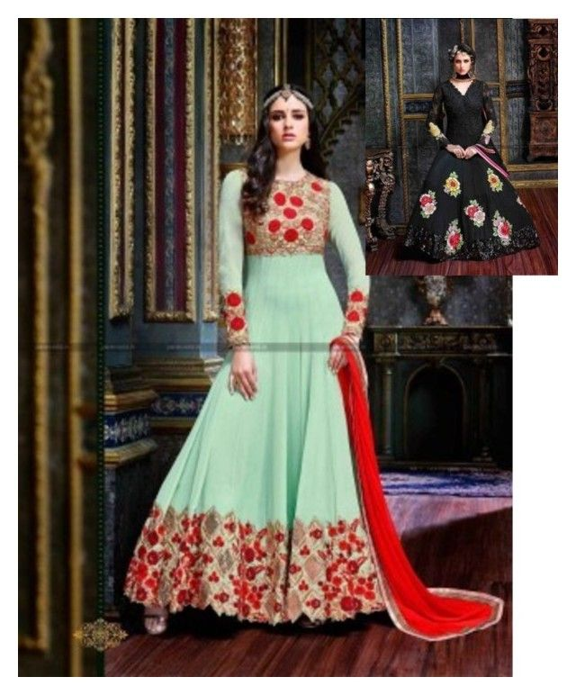 """Buy online designer anarkali salwar kameez only on parisworld"" by parisworld-surat on Polyvore"