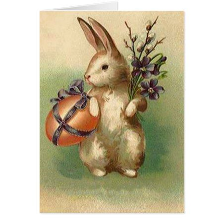 Vintage Easter Bunny Easter Egg Flowers Easter Card - click/tap to personalize and buy