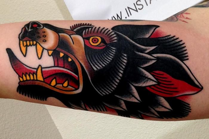 wolf tattoo by Jonathan Montalvo -