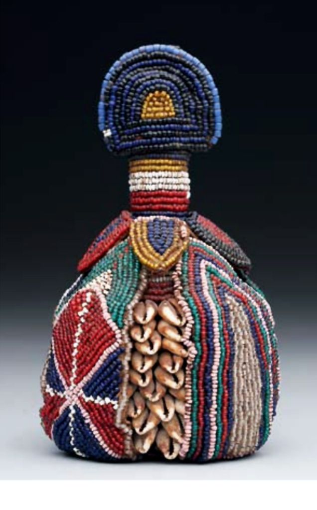 Africa | Symbol of the inner head (ibori) from the Yoruba people of Nigeria | Glass beads, cowrie shells, leather | Late 19th to early 20th century