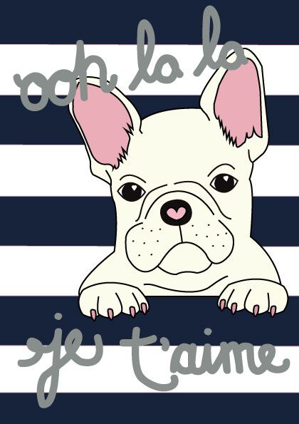 Ooh La La, French Bulldog - Digital Illustration