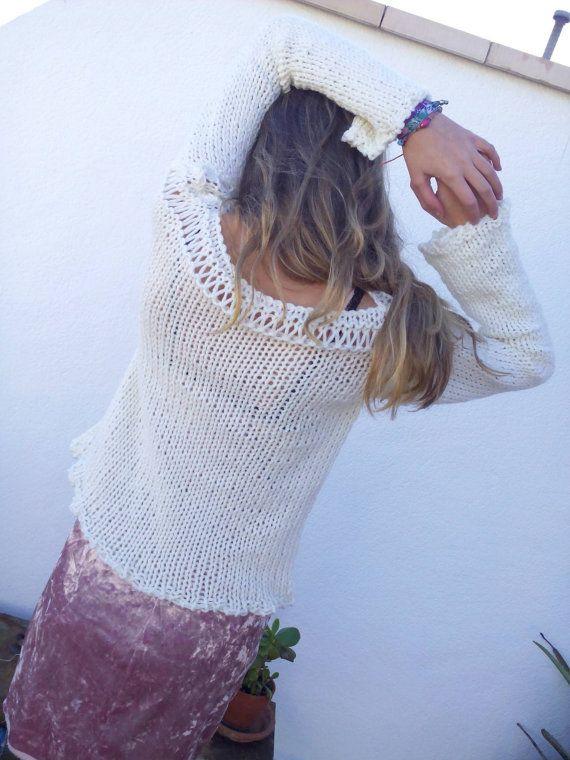 Jersey crema, jersey de lana, tejido a mano, tendencia invierno, jersey grueso, tendencia dos agujas, tejido de alpaca, tendencia jersey. por EstherTg