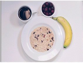 Oatmeal - 325 Calories  1 cup oatmeal with raisins  1 cup of fruit  1 cup coffee or tea  1 banana