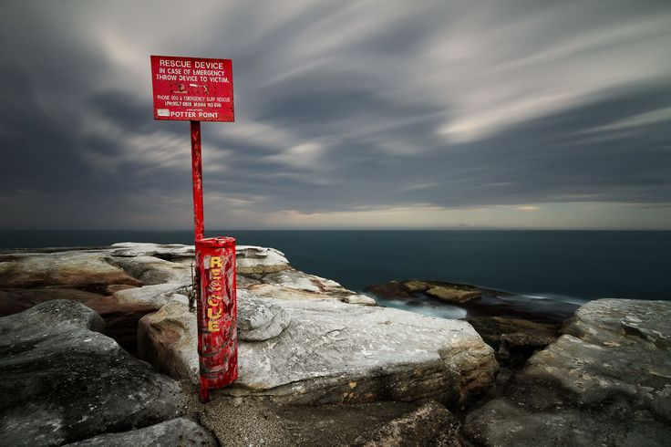 Storm clouds and strong winds at Kamay Botany Bay National Park, means that rescue devices like this one is a must.