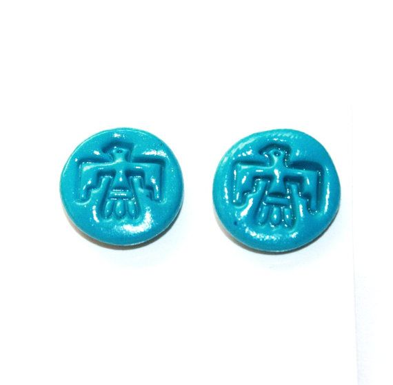 Round Golden Blue Turquoise Thunderbird post by IraleneJewellry