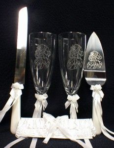 beauty and the beast toasting flutes | DISNEY Beauty & the Beast Wedding Cake Topper LOT Glasses SET knife ...