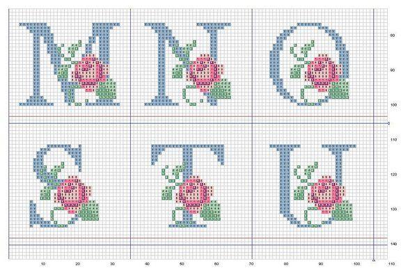 Ponto Cruz -Abecedário Rosas (M,N,O,S,T,U)