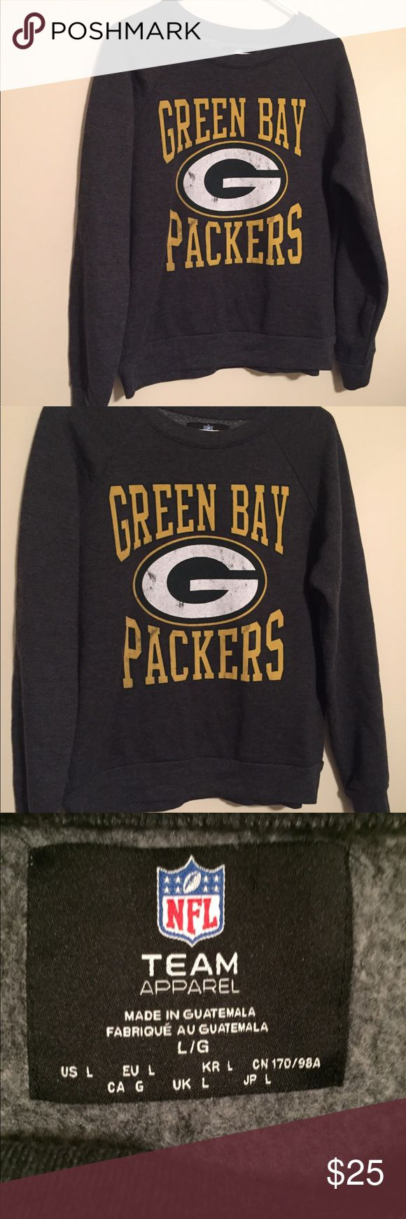 🆕 NFL Green Bay Packers Sweatshirt Extremely comfortable Green Bay Packers sweatshirt. Only worn for one season (dated a guy that was into them. He didn't realize I was not... whoops!). Perfect for a game or hanging out. Size Large but could easily work for a Medium NFL Team Apparel Sweaters