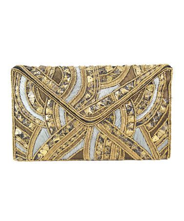 #zulilyfind - Pink Pewter | Gold & Silver Beaded Haiti Clutch