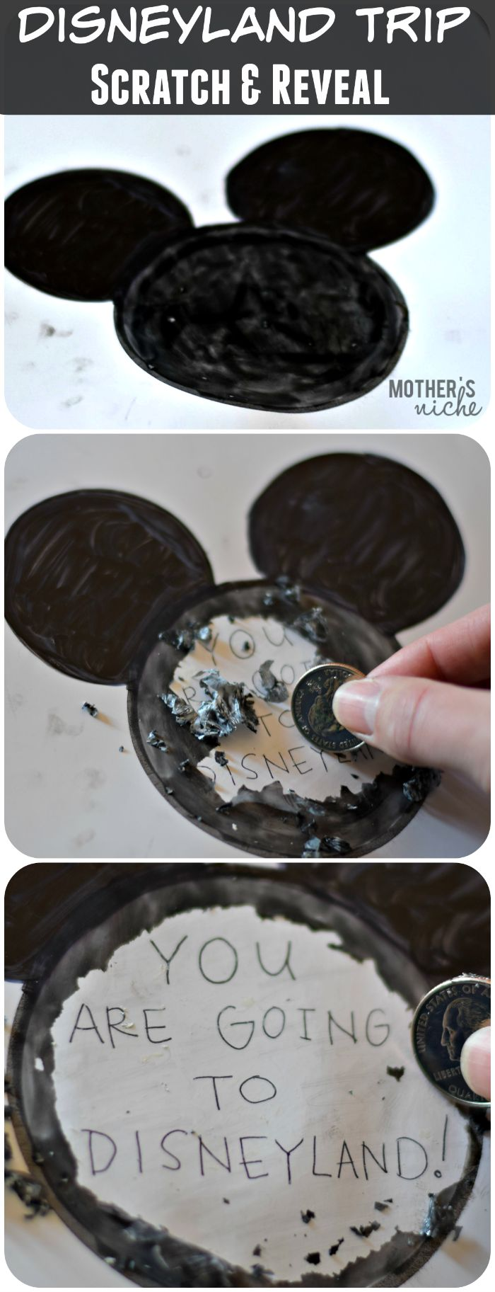 DIY Scratch & Reveal for surprising kids with a trip to DIsneyland - or Disney World, of course!. You can also use the free printable as a treasure hunt with the surprise at the end!