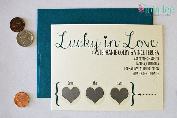 My adorable and interactive Scratch Off Save the Date -  Lucky in Love by IfOnlyLolaLee on Etsy