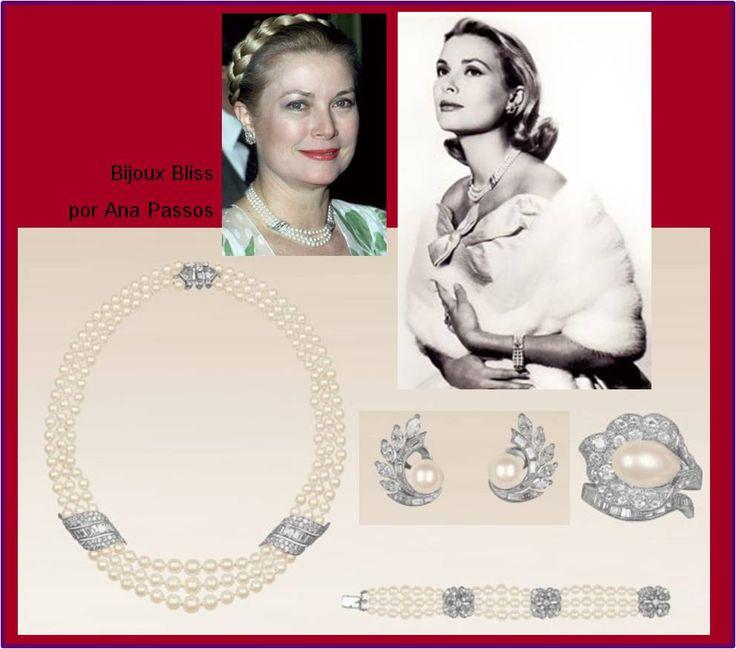 Ana Passos Joias - Expo Grace Kelly 02 Van Cleef & Arpels criou este conjunto de pérolas e diamantes para que o Príncipe Rainier desse de presente de noivado para a Grace Kelly. Ela usou o conjunto ao lo