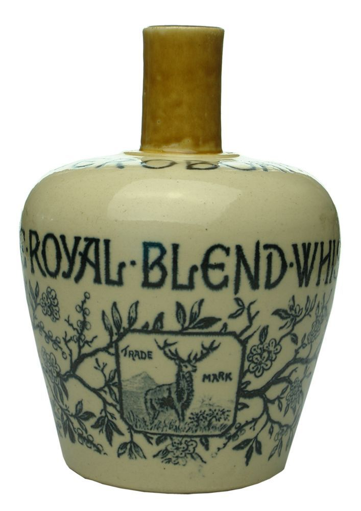 "Auction 27 Preview | 875 | Jeroboam Royal Blend Whisky Thomson Glasgow Stone Jug  A. G. Thomson & Co., Glasgow, ""Jeroboam"". 193 mm. EX, lip chip, fine 45 mm hairline (8.0)  sold $63"