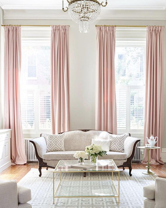 Blush Pink Custom Drapery Collection Light Pink Linen Drapes Pink