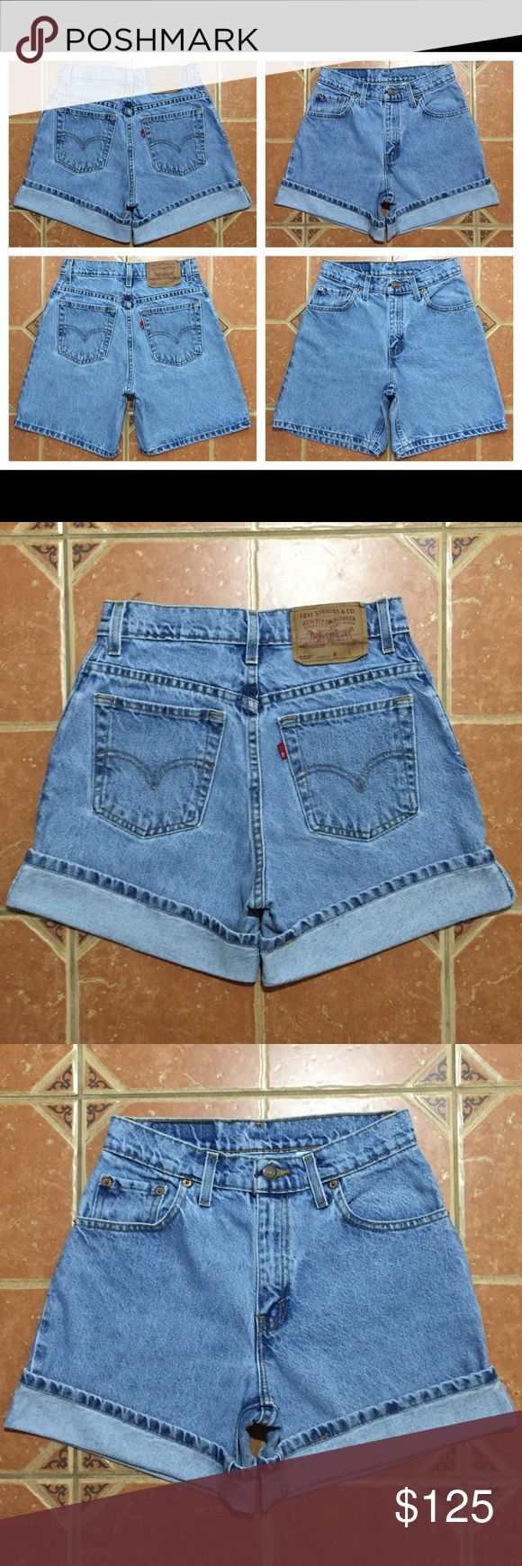 "Vintage 90s Levis 550 High Waisted Mom Jean Shorts Vintage 90s Levis 550 Relaxed Fit High Waisted Mom Jean Denim Shorts  MEASUREMENTS: ACROSS WAIST: 13"" ACROSS HIPS: 19"" RISE: 10"" INSEAM: 6.5"" LEG OPENING: 10.5"" Levi's Shorts Jean Shorts"