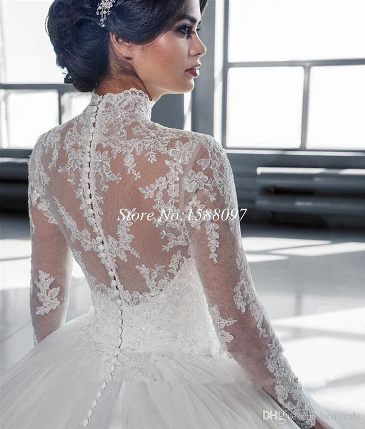 Gola alta Sheer Mangas Compridas Lace vestido de Baile Vestidos de Casamento 2019 Applique Do Vintage de Renda Tule Vestidos De Noiva Vestidos De Noiva Custom Made