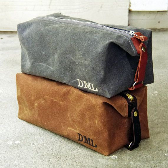 Dopp Kit, Gift for Him, Personalized, Groomsmen Gift, Waxed Cotton Canvas and Leather, Monogrammed Toiletry Bag