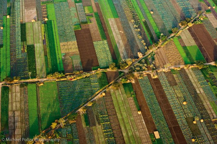 """Patchwork"" ..Aerial view of agricultural fields outside Cairo, Egypt     by Michael Poliza, via 500px"