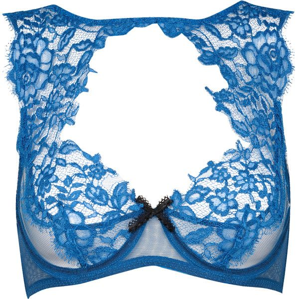 Agent Provocateur Cassia Bra ($320) ❤ liked on Polyvore featuring intimates, bras, lingerie, underwear, bra, agent provocateur, blue, bridal, bridal lingerie and lace lingerie