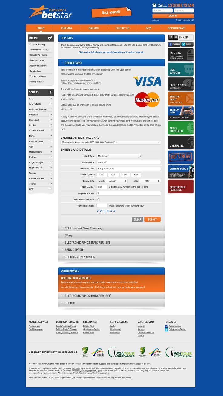 BettingStar Deposit Form - Website by DecoGr@f!x