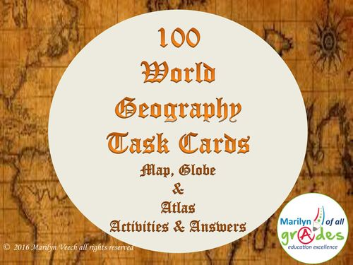 100 Geography Task Cards + Answers.
