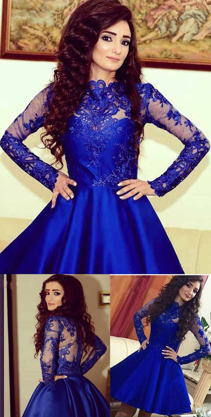 Royal Blue Prom Dress,Satin Homecoming Dress,Lace Appliques Homecoming…