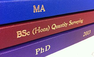 Thesis binding for university students who are writing their thesis/disseration. All Document Centre thesis binding is done to strict university specifications.