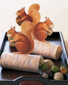 Guests will go nuts over these cute critters. Squirrels perched atop logs filled with foil-wrapped chocolate chestnuts, hazelnuts, and walnuts make sweet seasonal tokens. Put one at each setting at the Thanksgiving table. If you'd like, you can write guests' names on the logs before assembling them so the favors can double as place cards.