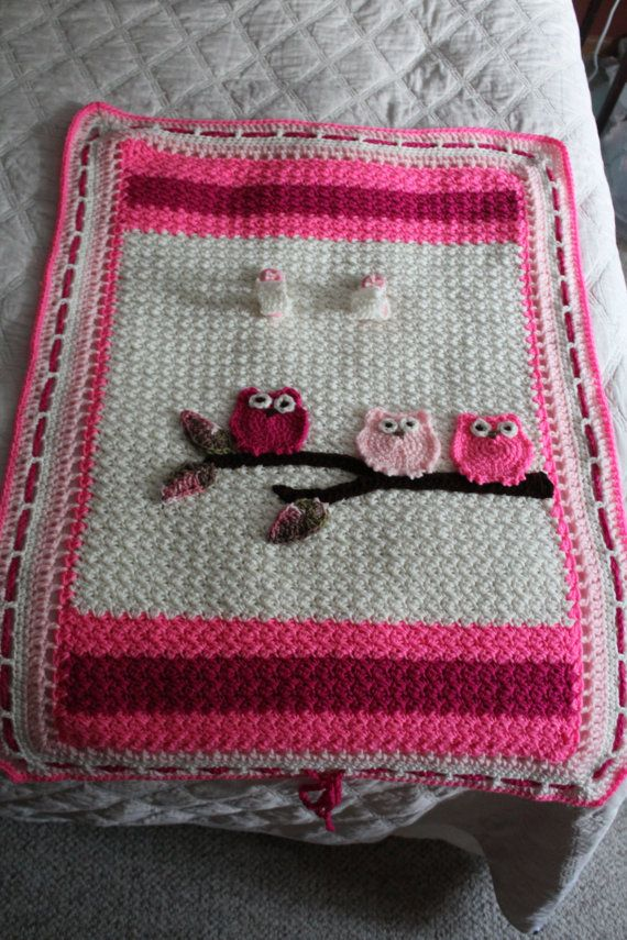 Baby Blanket, Infant Tented Car Seat Cover, Stroller /Car Blanket, Toddler Blanket, Baby Blanket Baby Owls, Pink