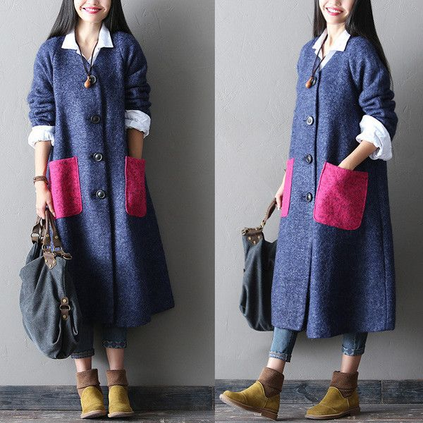 loose fitting woolen winter coat - Tkdress  - 1