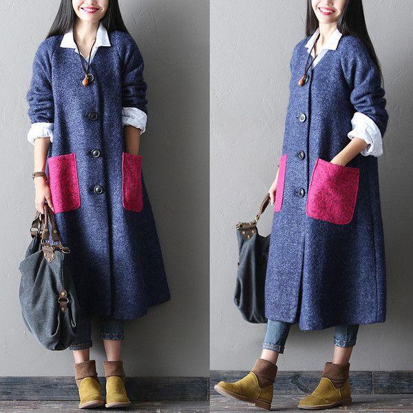 loose fitting woolen winter coat - Tkdress - 1