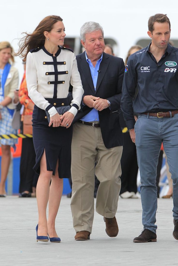 The Duchess of Cambridge arriving for a visit to the Land Rover BAR sailing base in Portsmouth, United Kingdom.