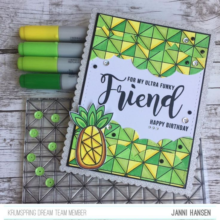 YAY @krumspring_ Release 6 is now live  and I can finally share my cards  I used colors in this release I normally don't use - and I loved it  Check out #krumspringstamps blog and read my post  Happy Saturday #mitkammer #cardmaking #copiccoloring #krumspringdesign #krumspringstamps #krumspringdreamteam #krumspringtriangles #funkypineapples #awesometrianglewizard #colorfull #pineapple #awesome #craftygirl #release6 #cardmakinghobby #paperlove #clearstamps #happytime