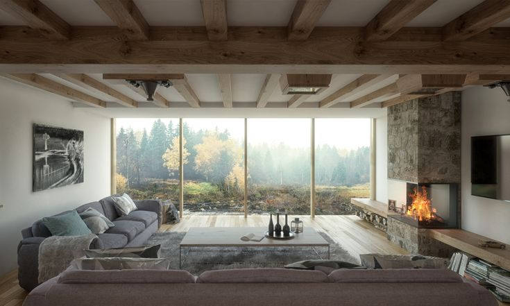 Interior design for a contemporary extension to an old mill in Northumberland. Cosy living room design with log burner.  #logburner #riverviews #livingroom #interiordesign #cosy #hygge #glazing #greatspacearchitects