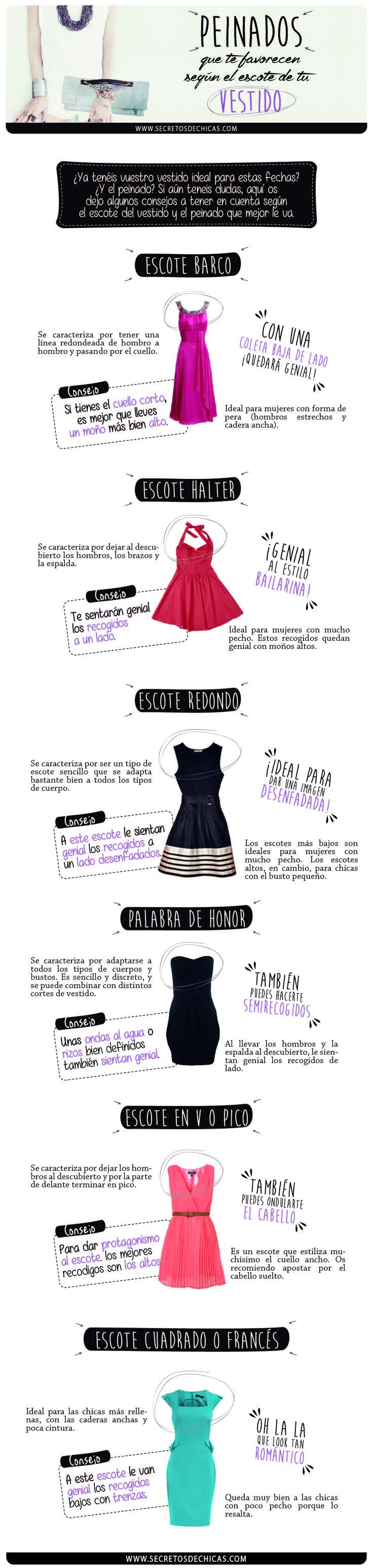 Vocabulario relacionado con vestidos y peinados: tipos de peinados que van bien con tipos de escotes