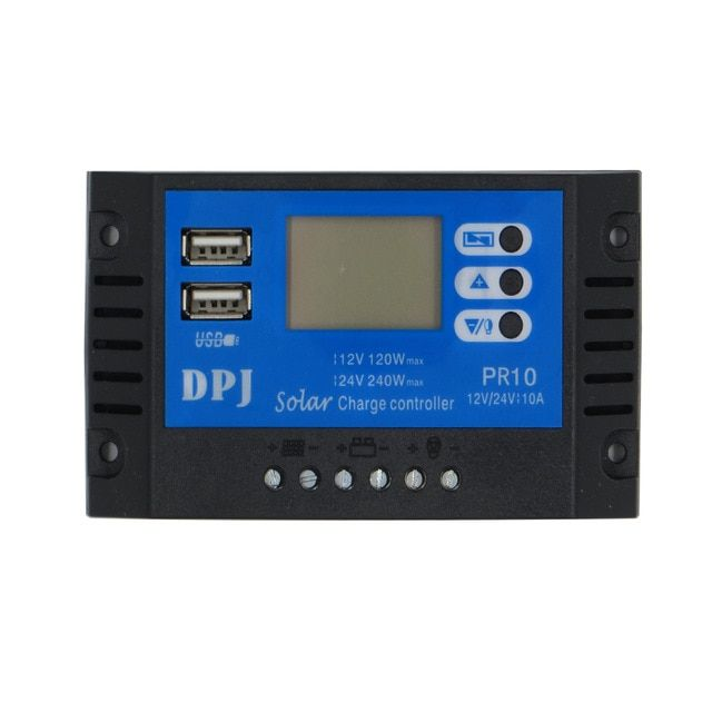 10a 12v 24v Auto Solar Panel Battery Charge Controller Pwm Lcd Display Solar Collector Regulator With Dual Usb Output R Solar Panel Battery Lcd Solar Collector