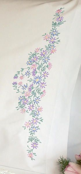 Wildflowers Pillowcase Pair Stamped Embroidery-20 X30