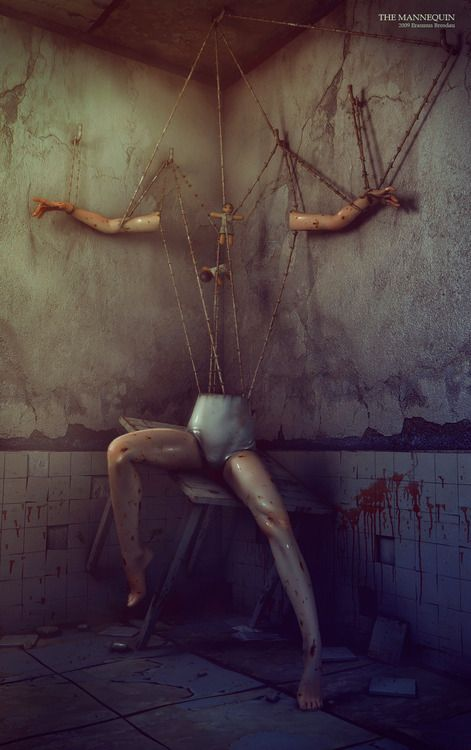The Mannequin by Destr3ga  macabre horror artwork illustration.