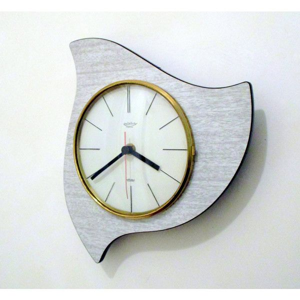 French 1950-60s Atomic Age LUTETIA GRAY Formica Wall Clock Rare... ($113) ❤ liked on Polyvore featuring home, home decor, clocks, gray home decor, grey wall clock, gray clock, grey clock and grey home decor