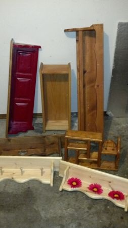 Lot of wooden shelves