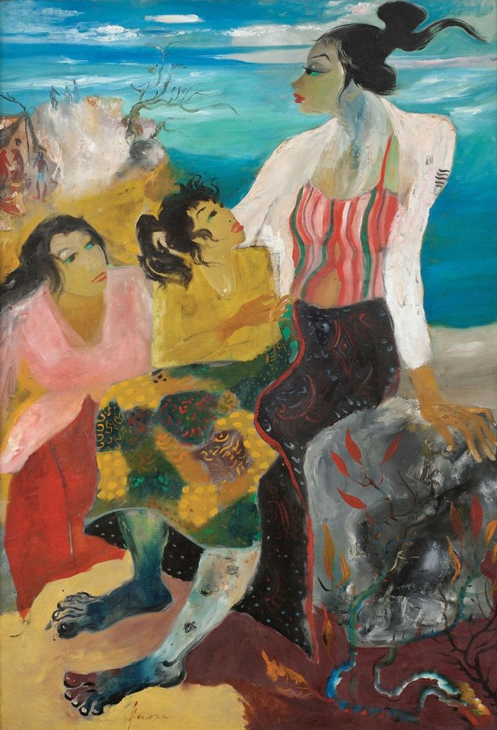 'Three Women on a Beach' (ca.1960s) by Hendra Gunawan
