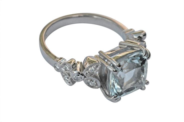 White gold ring set with Aquamarine  www.topiaryandashe.com